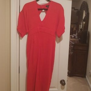 Top shop red midi dress with belt size 12